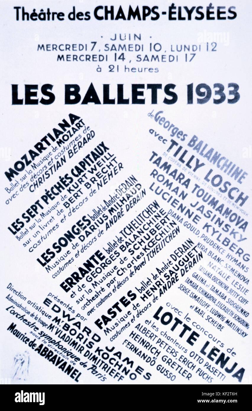 Les Ballets 1933 cartel, la publicidad de las actuaciones en el Théâtre des Champs-Elysées, París, Francia. Compañía Foto de stock