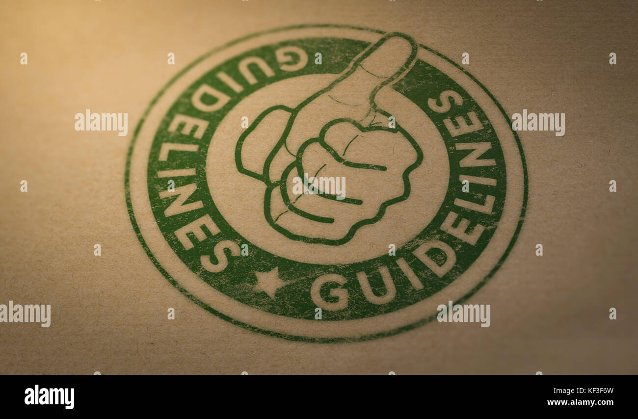 Marca de sello verde con el texto directrices y pulgar hacia arriba sobre fondo de cartón marrón. Imagen De Stock