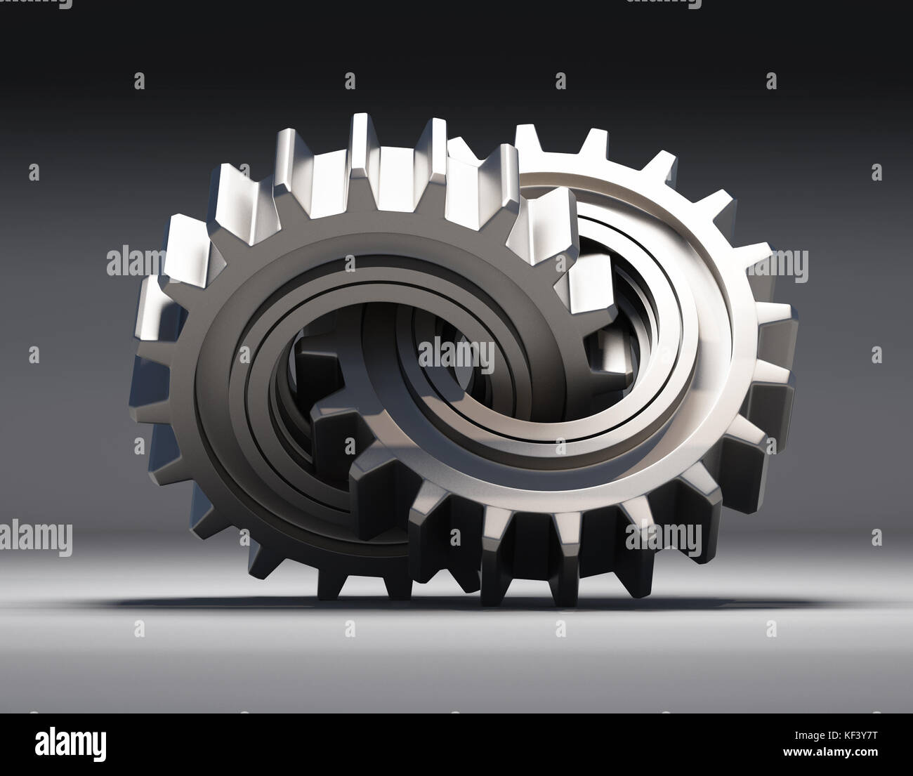 Ilustración 3d. un par de engranajes entrelazados hechas de metal. Imagen De Stock