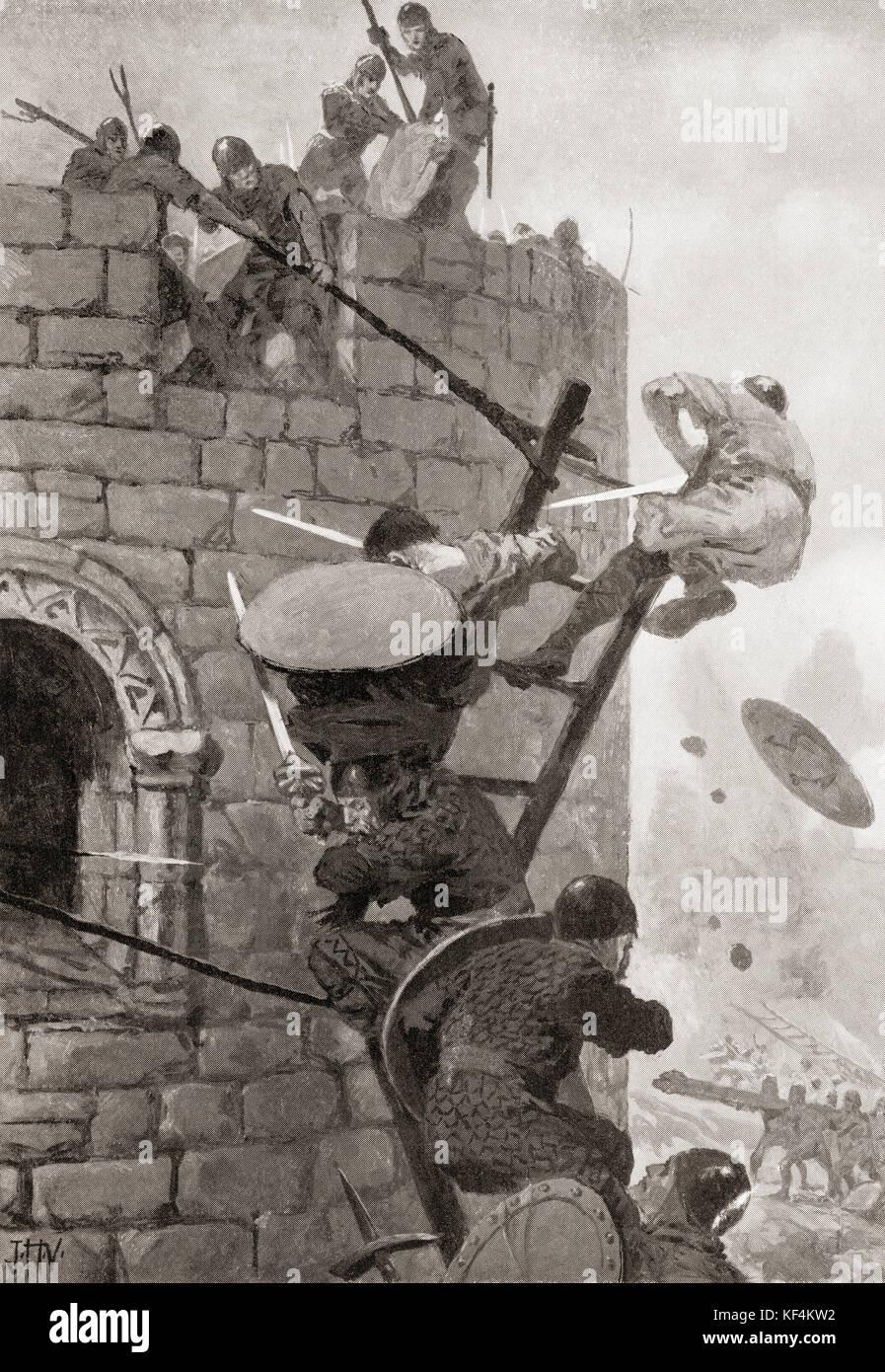 El asedio del castillo en Carmarthen, Wales por cadell ap gruffydd en 1146. La historia de Hutchinson de las naciones, Imagen De Stock