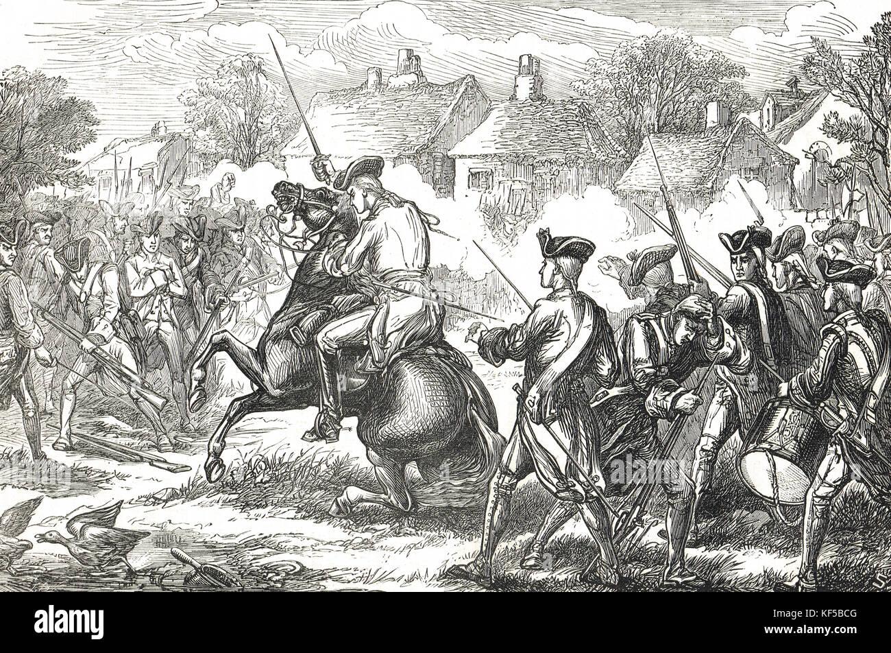 Las principales islas Pitcairn entrando en Lexington. Las batallas de Lexington y Concord el 19 de abril de 1775 fueron los primeros enfrentamientos militares de la Guerra Revolucionaria Americana AKA Guerra de la Independencia norteamericana Foto de stock