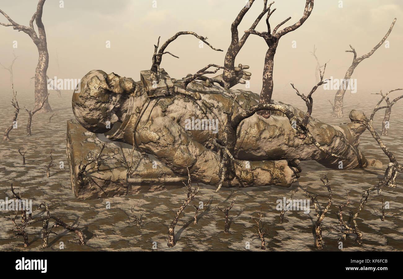 Un astronauta humanoide muerto. Imagen De Stock