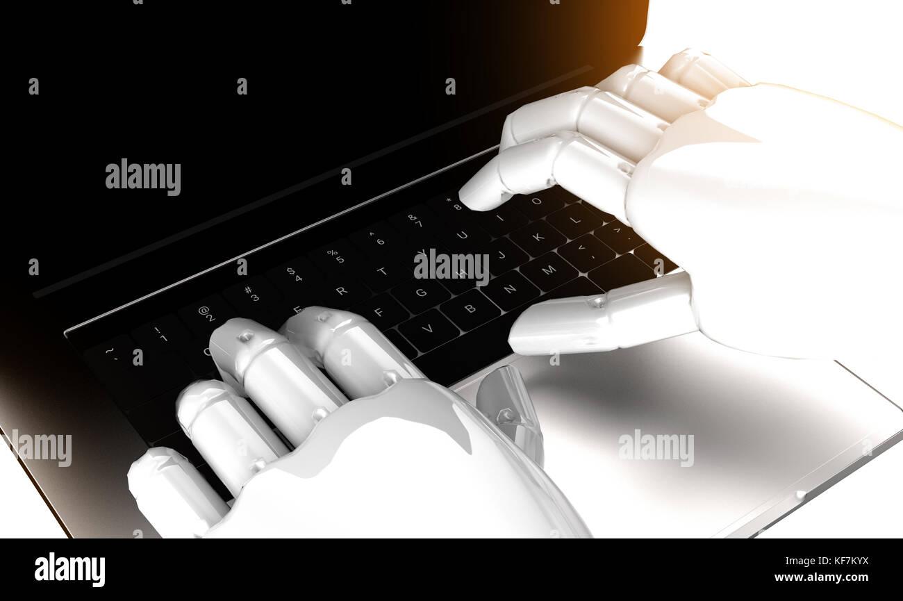 Robotic , inteligencia artificial , robo advisor , chatbot , concepto de tecnología de aprendizaje de la máquina. Foto de stock