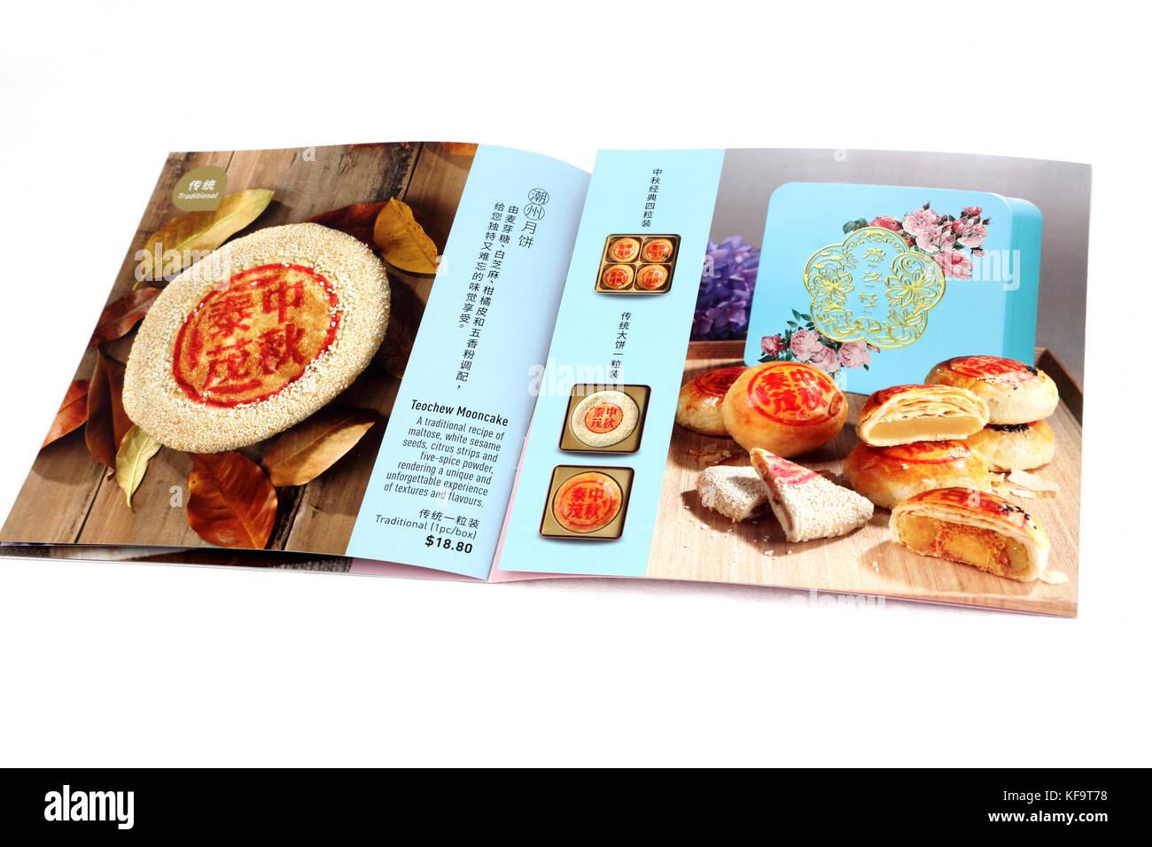 Thye Moh Chan librito mostrando Teochew Mooncakes Foto de stock