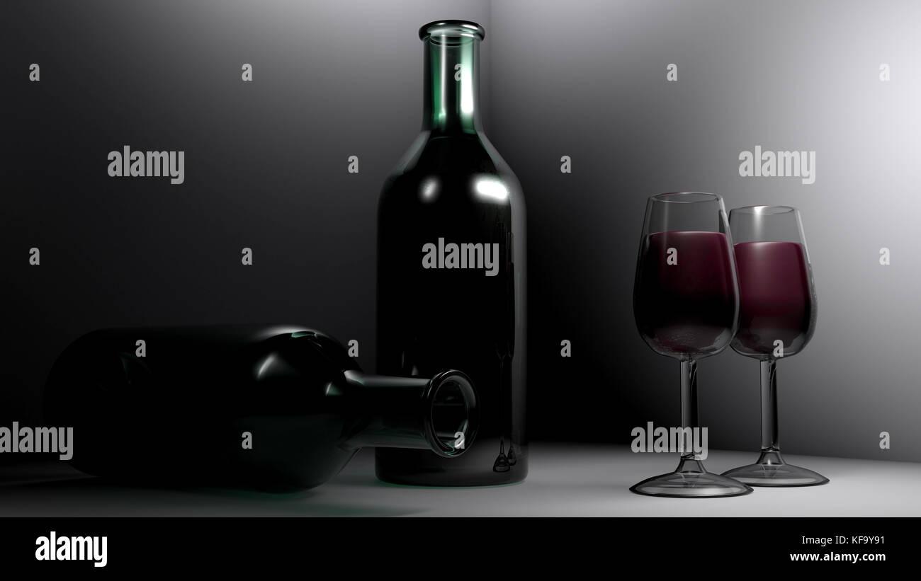 En las copas de vino tinto - 3D rendering Imagen De Stock