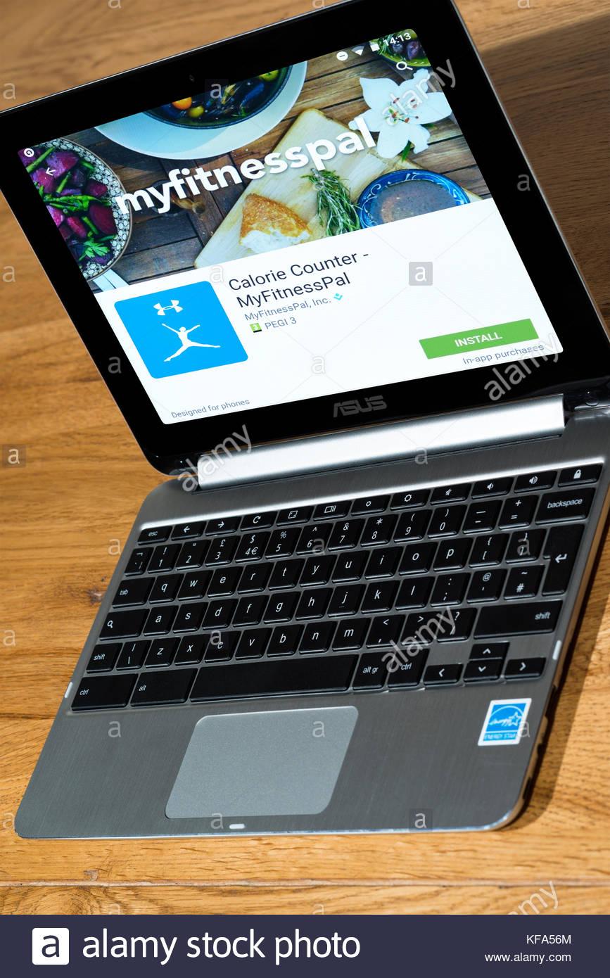 MyFitnessPal, el ejercicio y la salud app en un Chromebook, Dorset, Inglaterra. Imagen De Stock