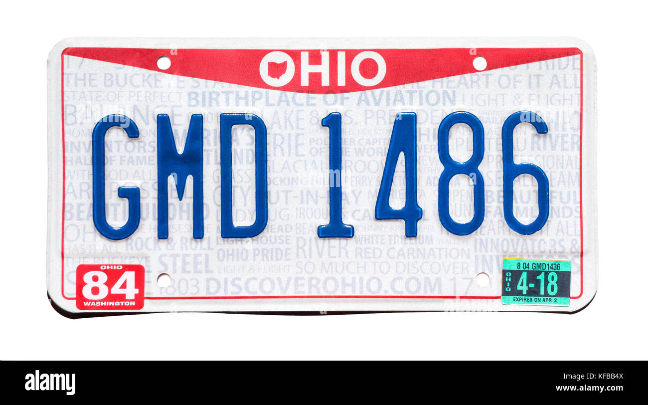 Matrícula de Ohio; número de matrícula del vehículo. La placa del número de Ohio. Foto de stock