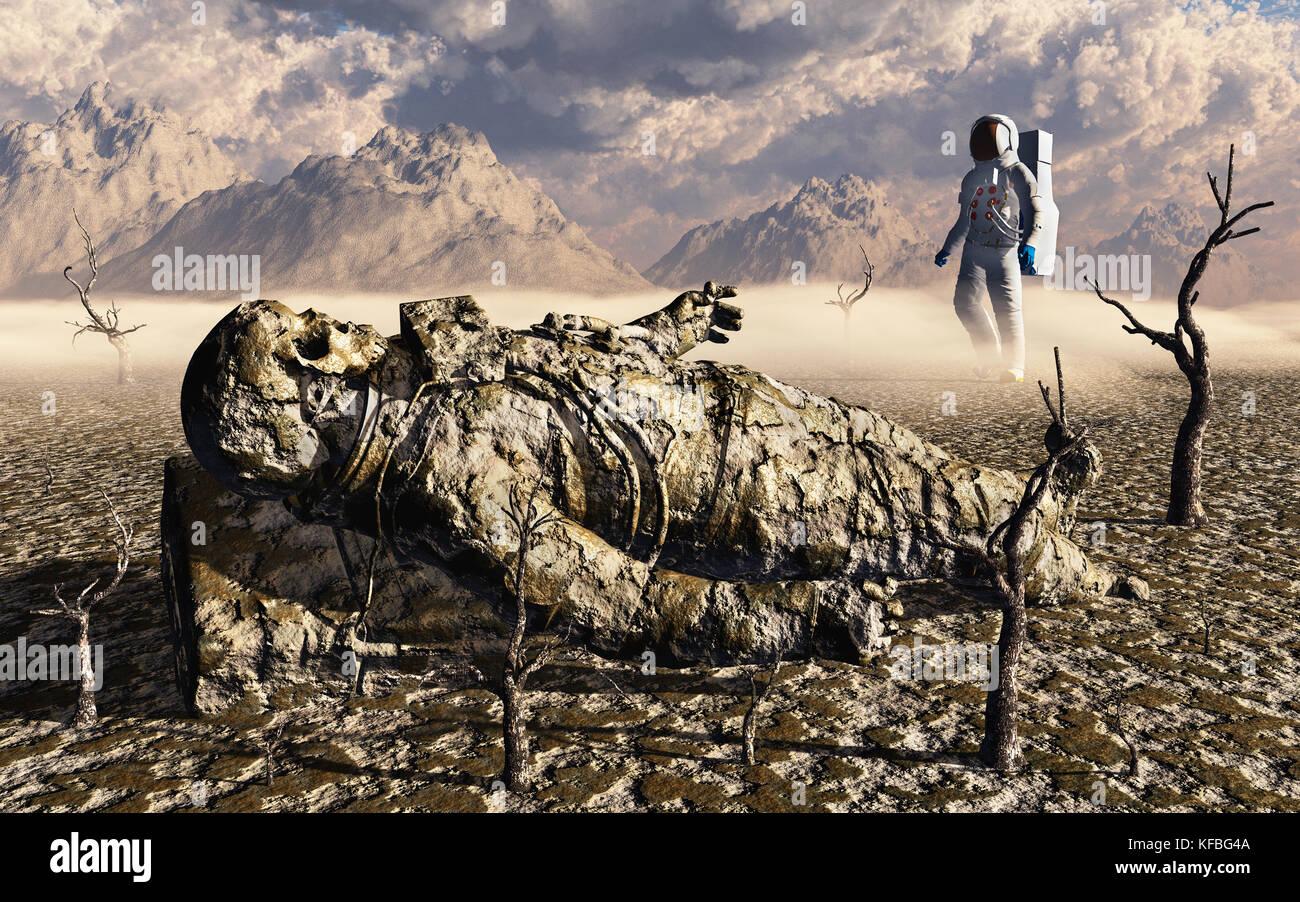Buscar y encontrar la misión espacial, en un planeta alienígena Imagen De Stock