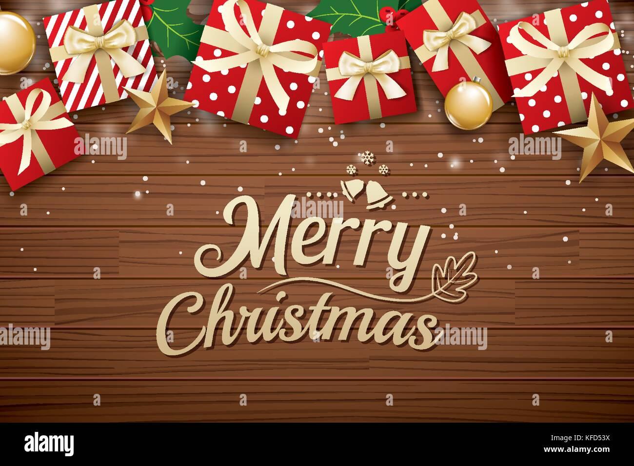 0dc5b3813827b Feliz Navidad Poster Plantilla de diseño de fondo. la tipografía y caja de  regalo de madera marrón.