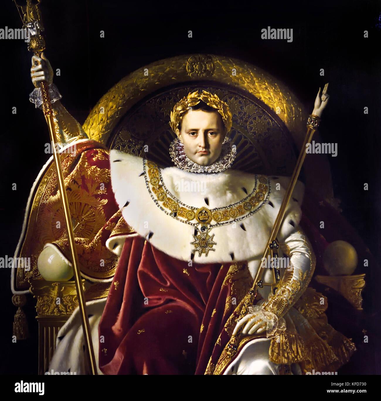 Napoleón en su Trono Imperial de 1806, Jean-Auguste-Dominique Ingres 1780-1867, óleo sobre lienzo, 260 x 163 cm ( Napoleón Bonaparte 1769 - 1821 como Napoleón I, él era emperador de los franceses desde 1804 hasta 1814, y de nuevo brevemente en 1815 (durante los Cien Días). Napoleón dominado europeos y los asuntos mundiales durante más de una década, mientras que Francia contra una serie de coaliciones en las guerras napoleónicas. Ganó la mayoría de estas guerras y la inmensa mayoría de sus batallas, la construcción de un gran imperio que gobernó en Europa continental antes de su colapso final en 1815. ) Foto de stock