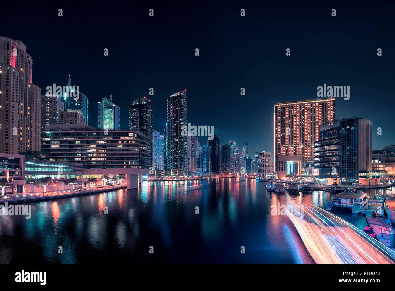 Dubai Marina paisaje urbano Foto de stock