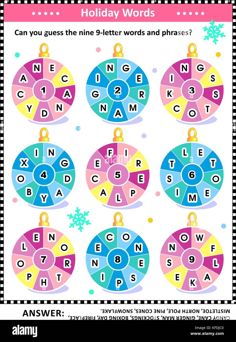 Navidad O Ano Nuevo Puzzle De Palabra En Ingles Y Las Vacaciones