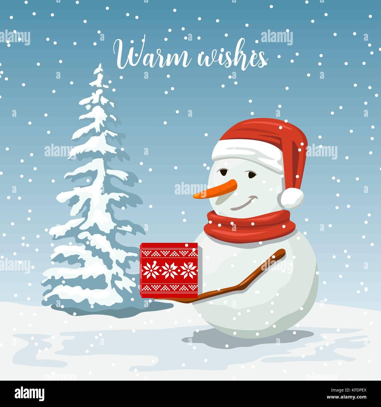 Fotos Simpaticas De Papa Noel.Simpatico Muneco De Nieve En Un Gorro De Papa Noel