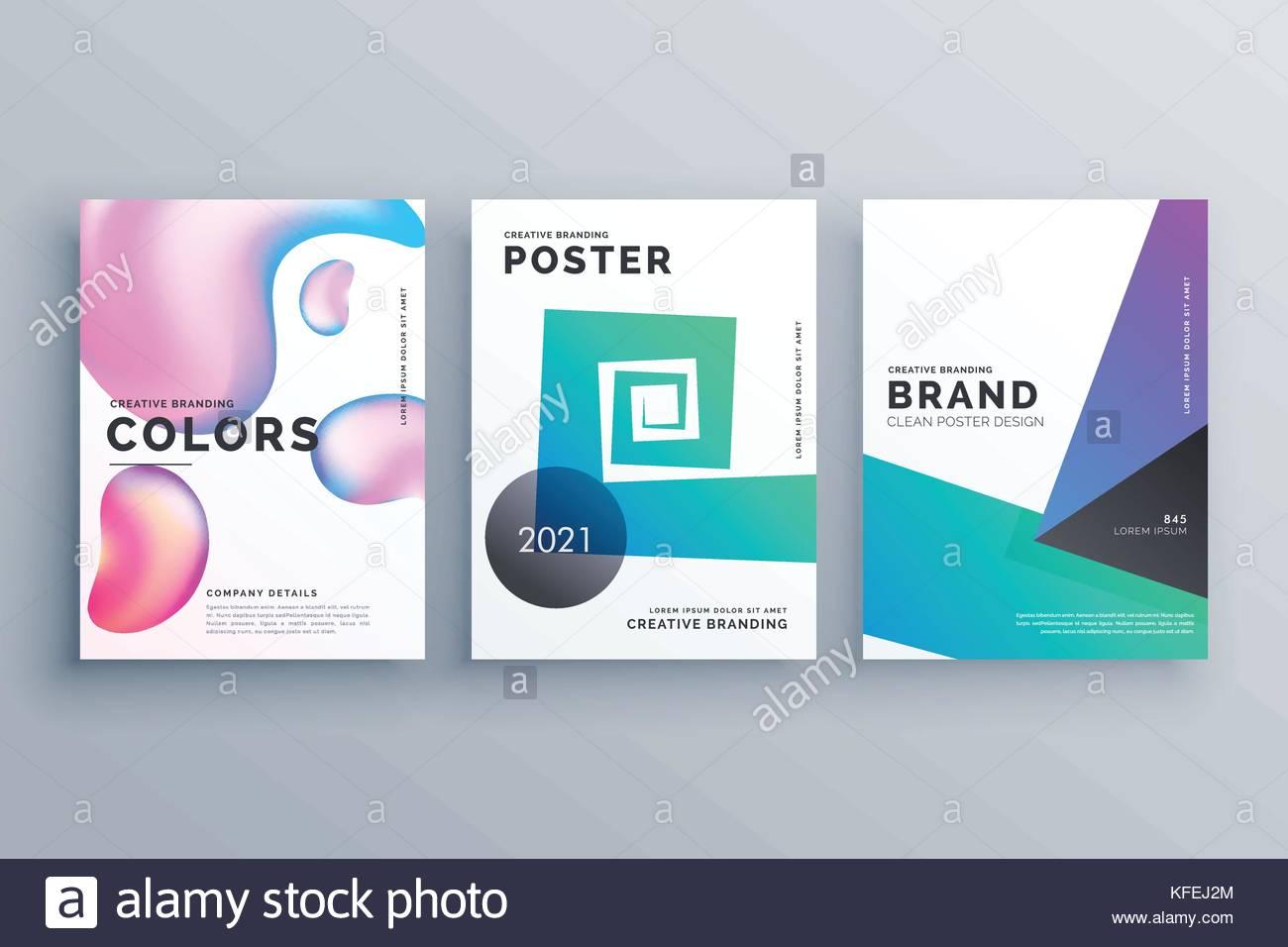 Conjunto de tres abstracto folleto mínima plantilla de diseño para ...