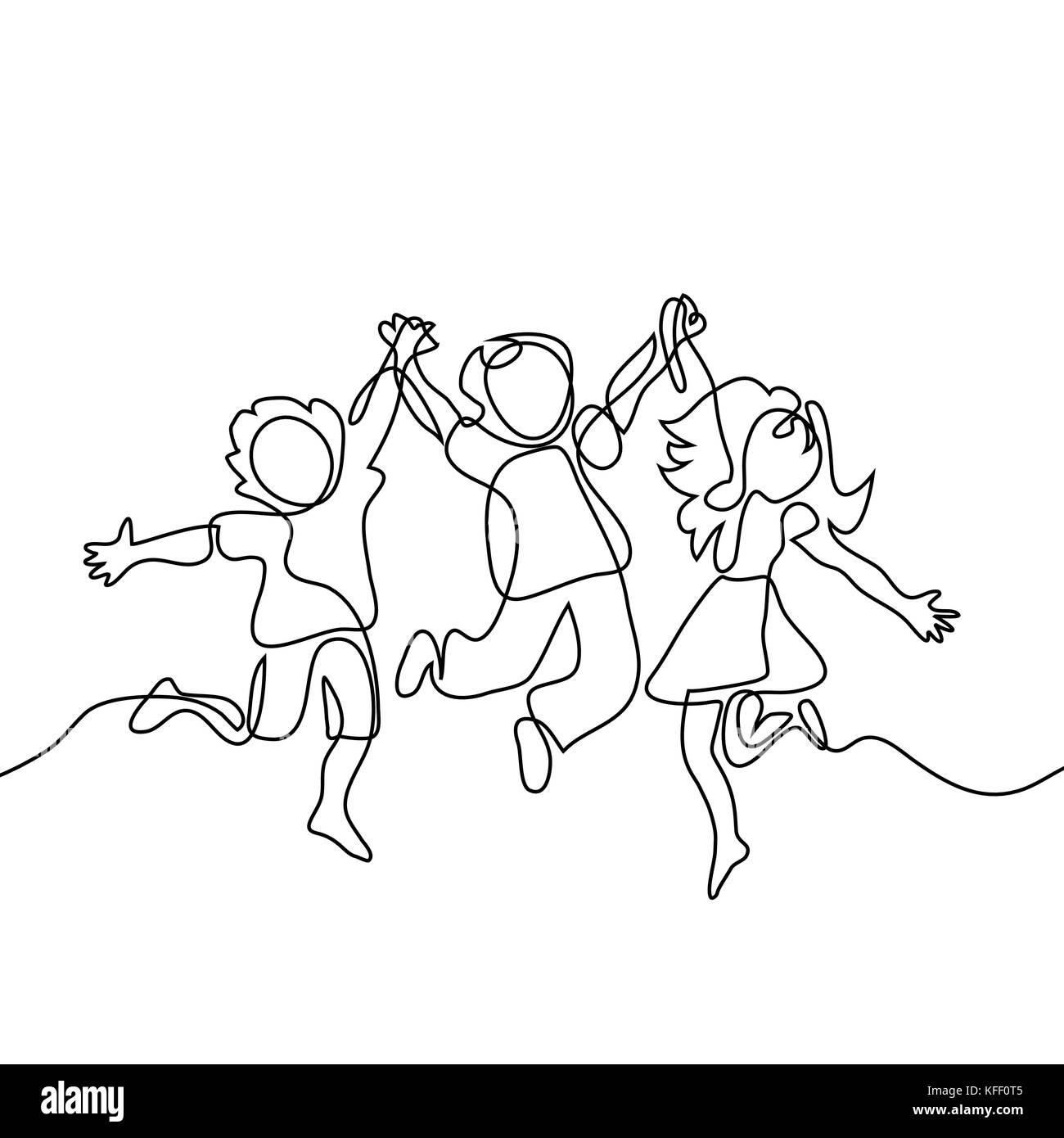 Feliz Saltando Los Niños Tomados De Las Manos Dibujo De Línea
