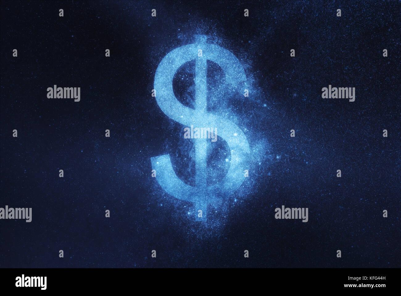 Signo de dólar, símbolo de dólar. abstracto fondo de cielo nocturno Imagen De Stock