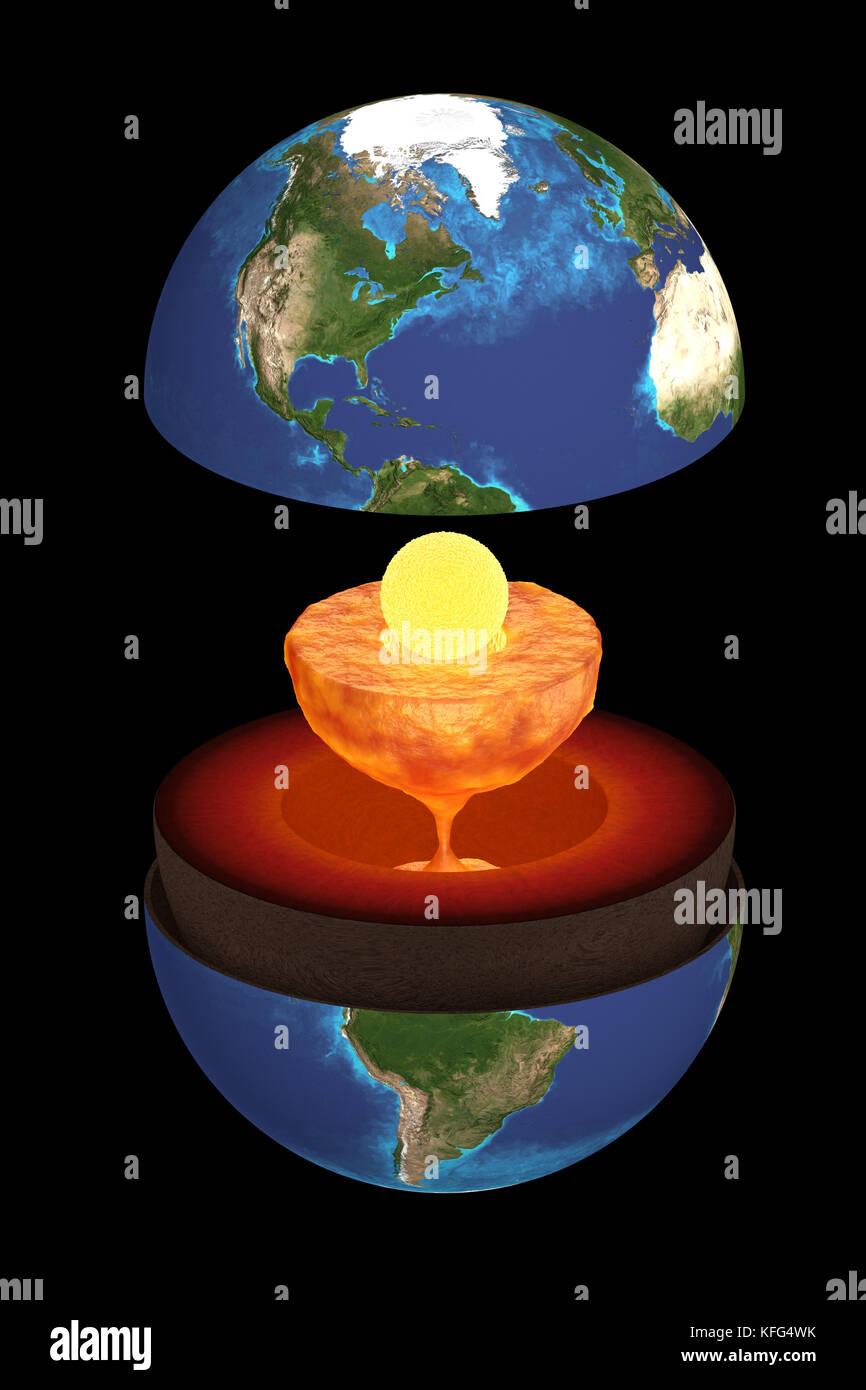 Rendering 3d De La Estructura Interna De La Tierra Ciencia
