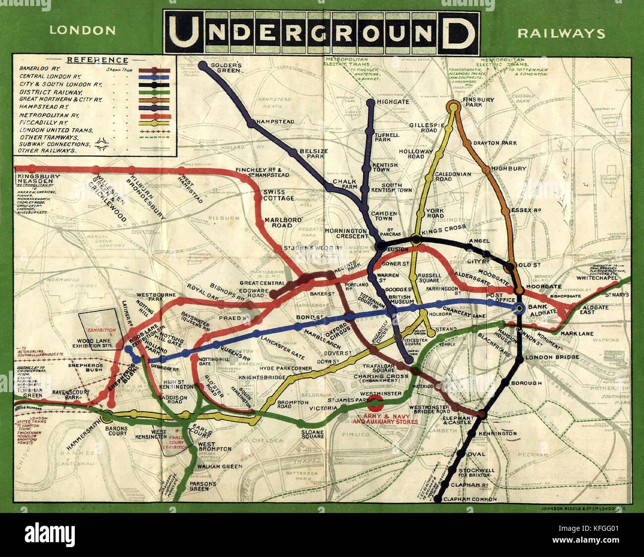 Mapa del metro publicado en 1908 Imagen De Stock
