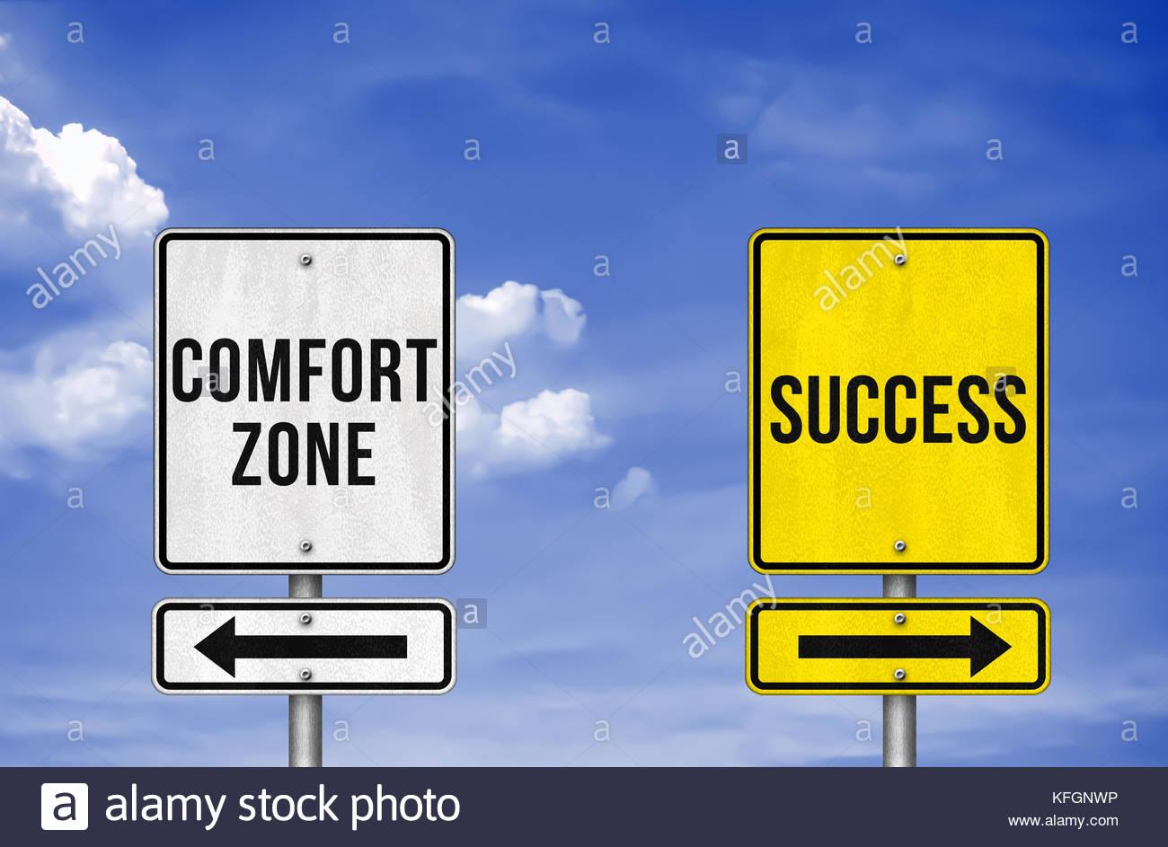 Decisión de carrera - zona de confort o el éxito Imagen De Stock