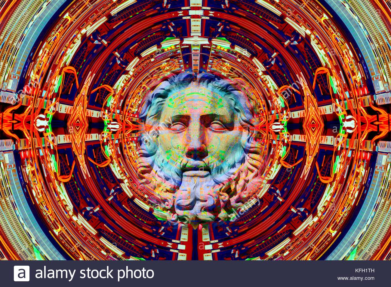 La inteligencia artificial que emergen de una red informática ciencia y religión dios la singularidad Imagen De Stock