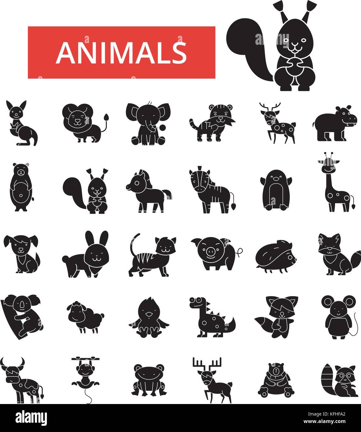 Bonitos Animales Ilustración La Línea Fina Iconos Planas Lineales