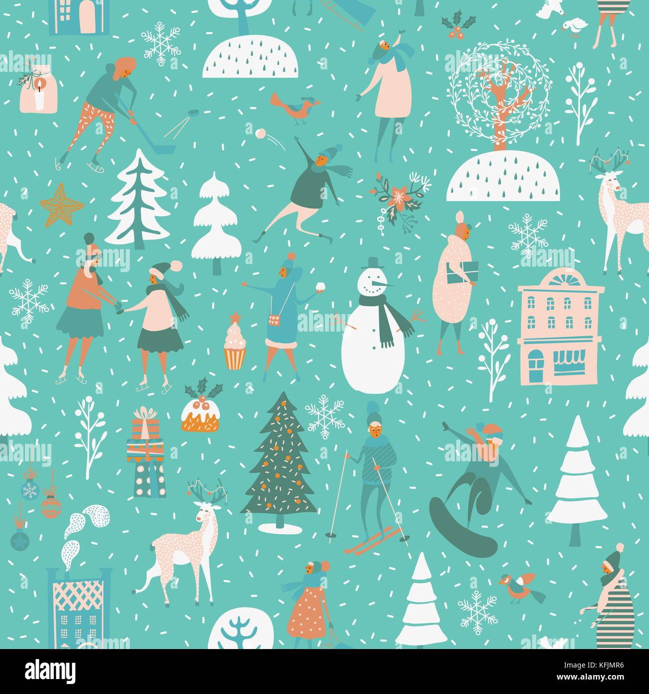 Navidad seamless vector patr n con los juegos de invierno for Papel tapiz de patron para el pasillo