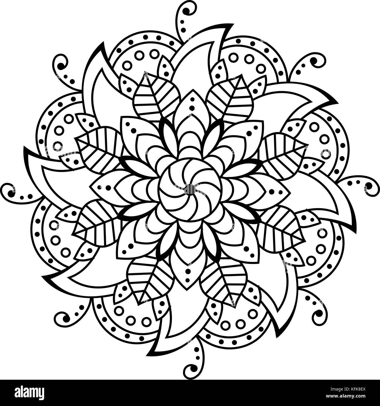 Flor de mandala. elementos decorativos de página de libro para ...