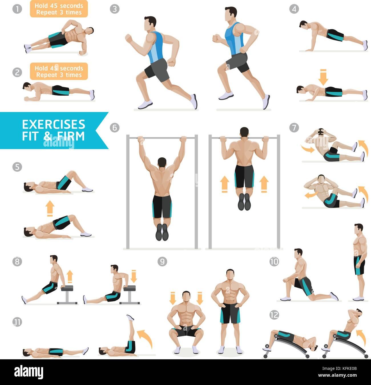 pesa ejercicios y entrenamientos con pesas ilustración vectorial