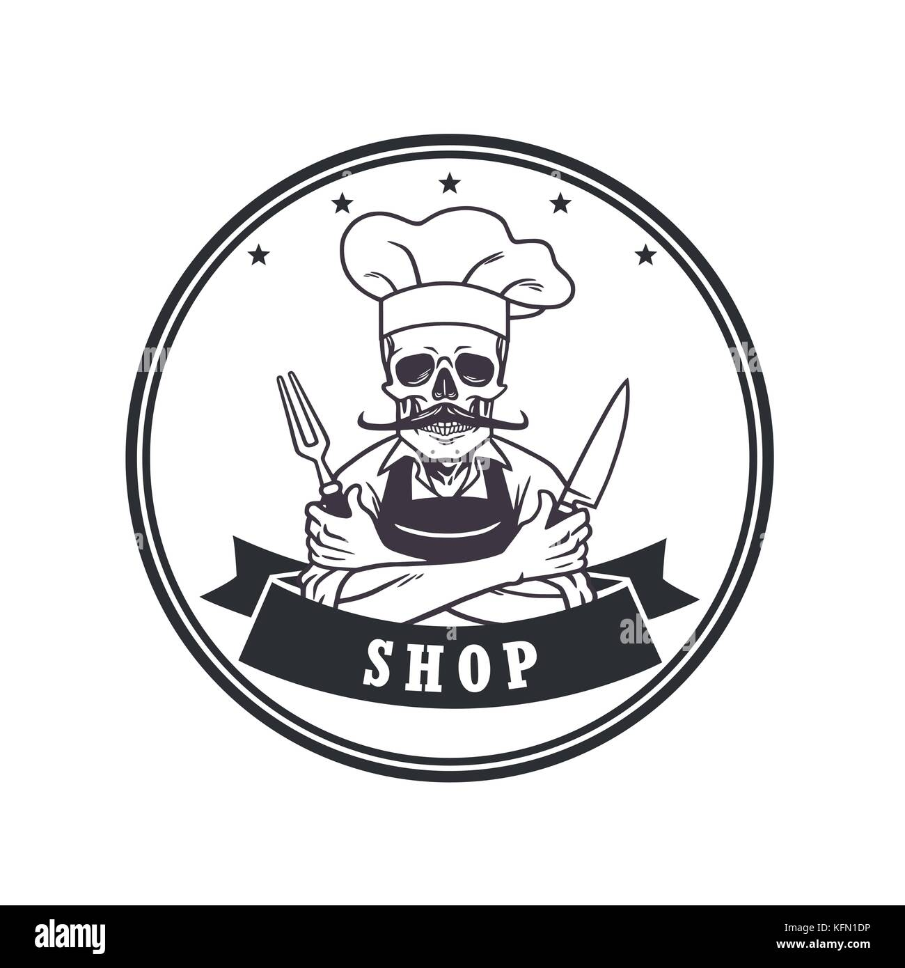 Muertos Skull Chef Sonriente Con Horquilla Cuchilla Y