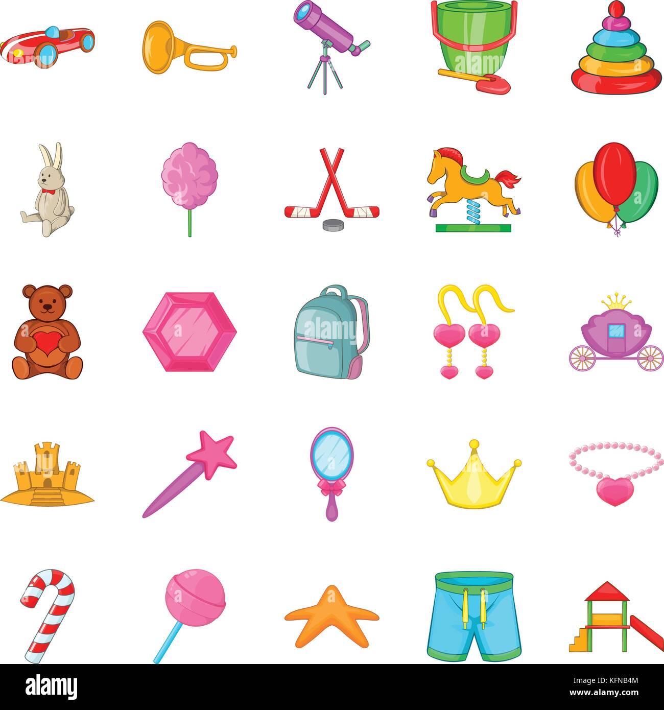 Juguete para bebés conjunto de iconos, estilo de dibujos
