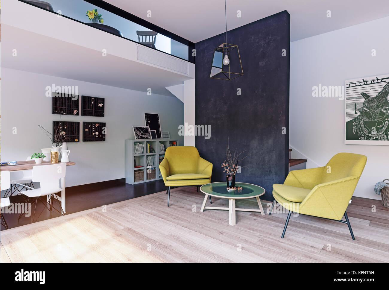 Interior moderno concepto de representación. Ilustración 3d Imagen De Stock