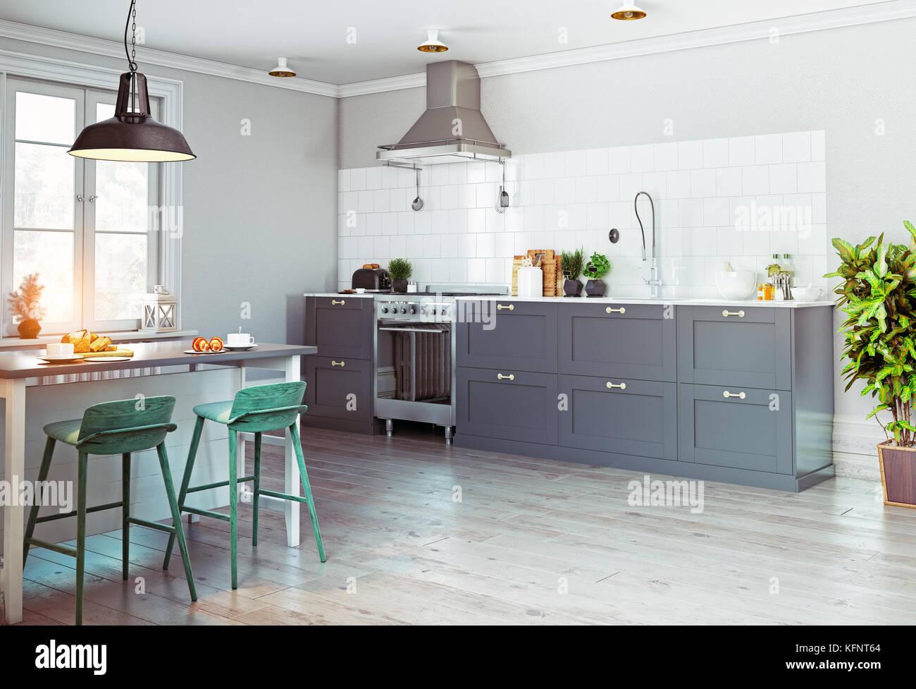 Cocina moderna interior. Diseño de estilo escandinavo. Concepto de ...