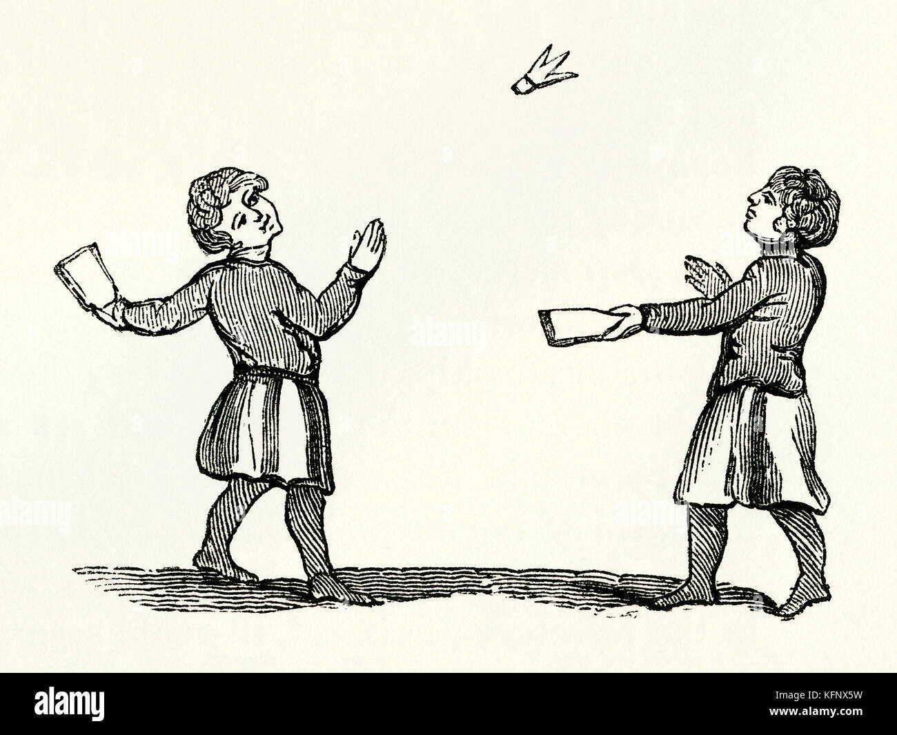 Un viejo grabado medieval de battledore y shuttlecock o jeu de volant, un juego de principios relacionados con el Imagen De Stock