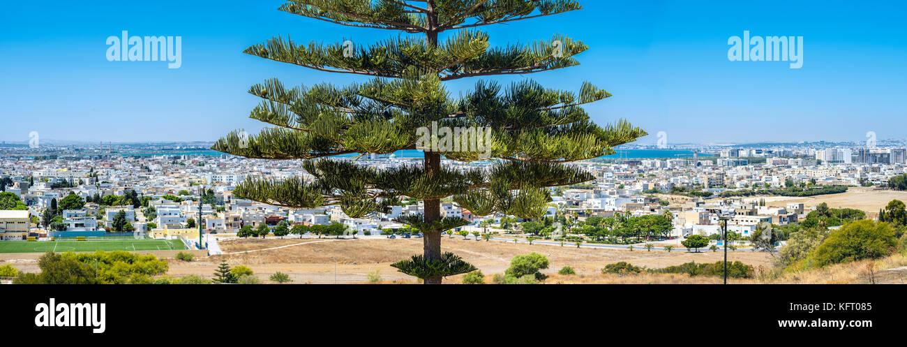 Vista superior desde la panorámica de la ciudad y de la colina de byrsa puerto púnico Cartago, Túnez, Imagen De Stock