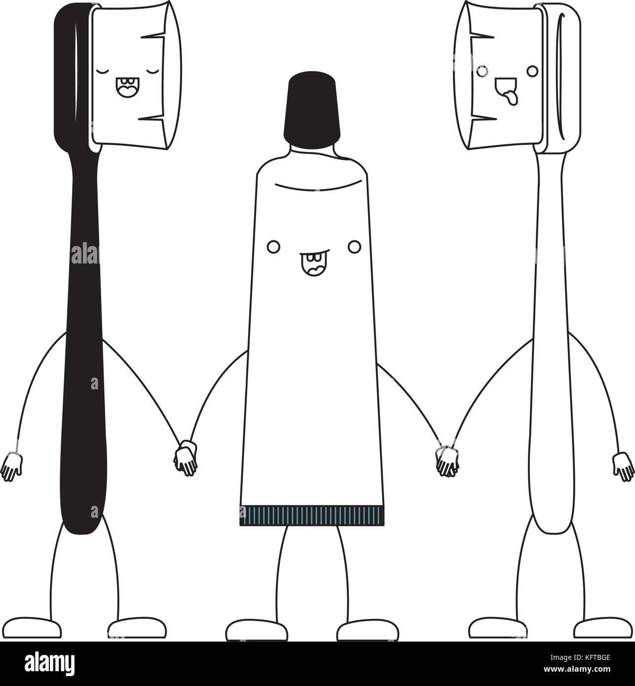 Pareja De Dibujos Animados Cepillos De Dientes Y Dentífrico En