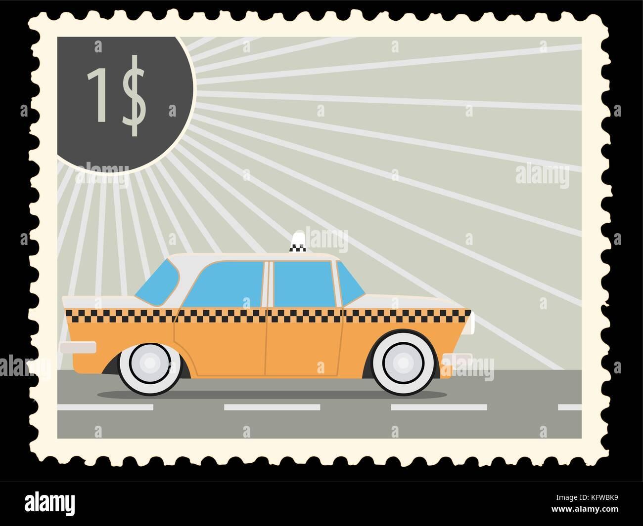 Sello con retro-taxi coches. ilustración vectorial Imagen De Stock