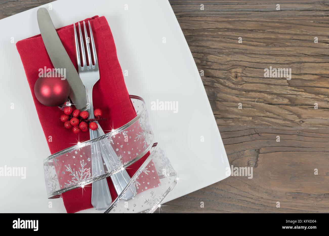 Tabla De Navidad Place Setting Fondo De Vacaciones La