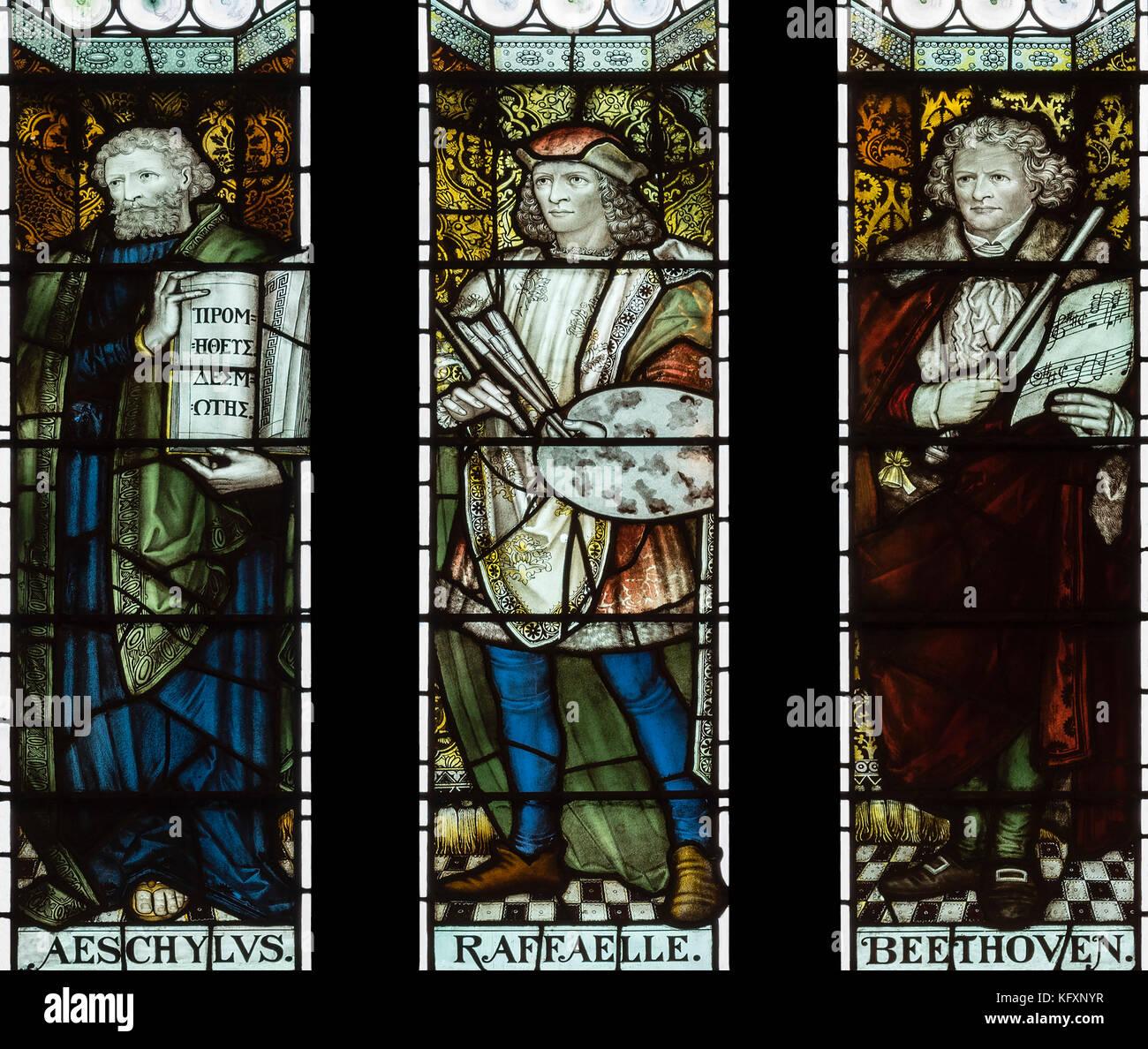 Aclamadas personalidades del mundo del arte se celebra en la Biblioteca John Rylands, Manchester, Reino Unido Foto de stock