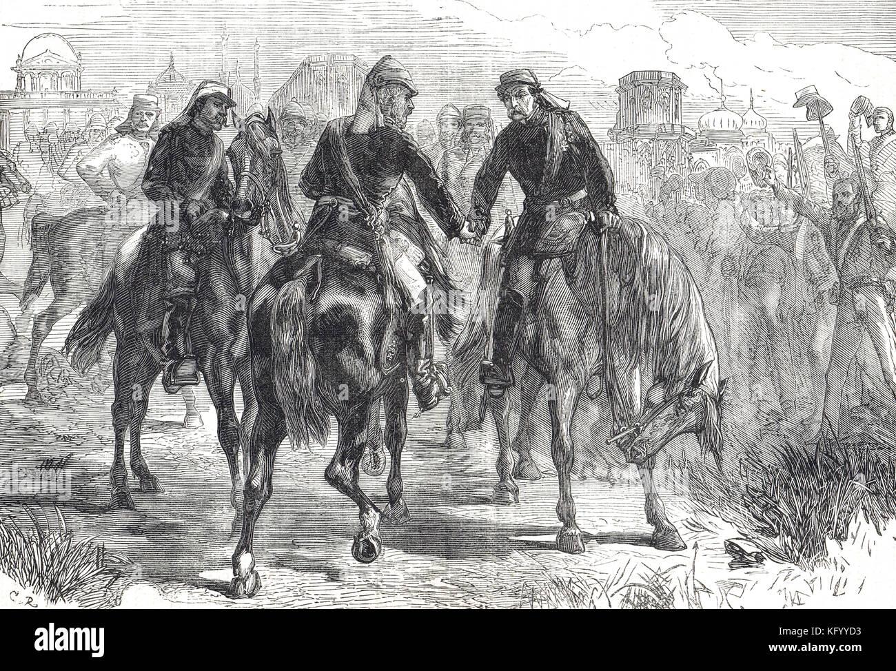 Reunión de los generales, sir Henry havelock,sir James outram, Sir Colin Campbell, primera relevación de Lucknow, la rebelión india de 1857 Foto de stock