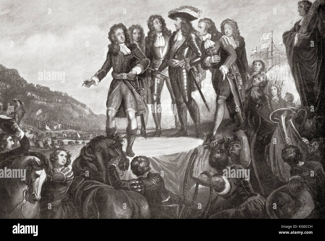 El desembarco de Guillermo de Orange en Inglaterra en 1688. Guillermo III, de 1650 a 1702. El rey de Inglaterra Imagen De Stock