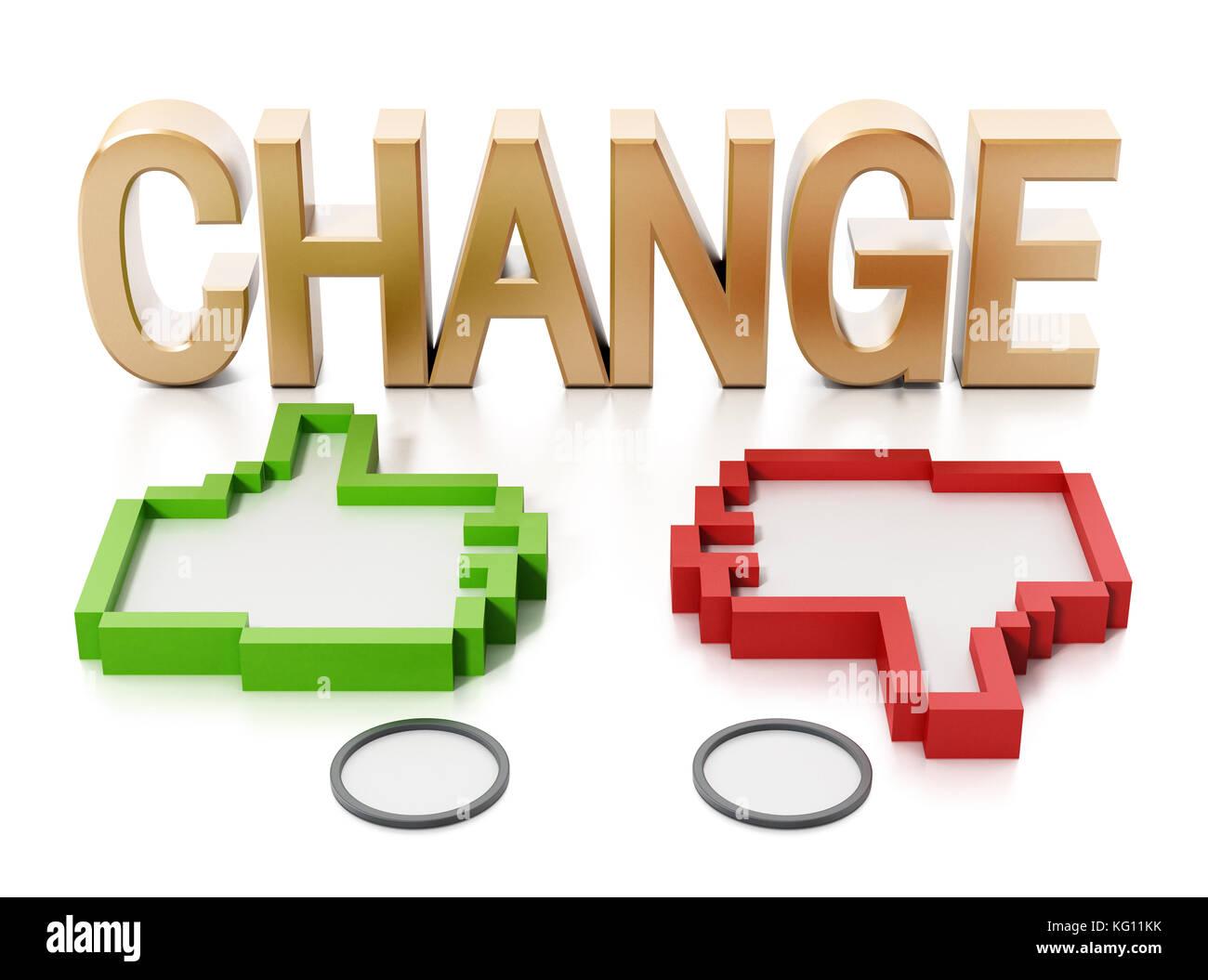 Pulgares hacia arriba y hacia abajo los iconos y cambiar el texto. Ilustración 3d. Imagen De Stock