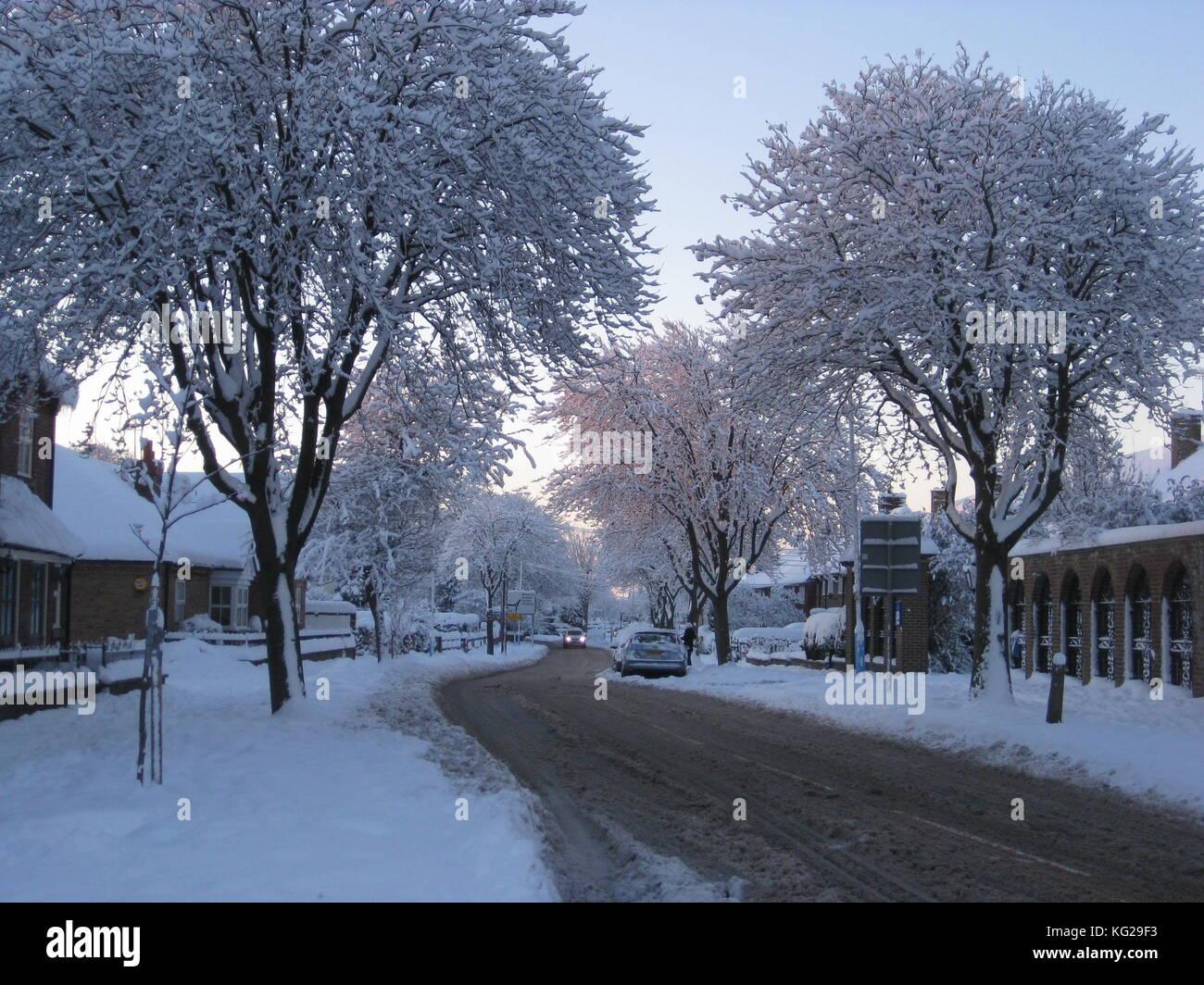Cottingham nieve Foto de stock