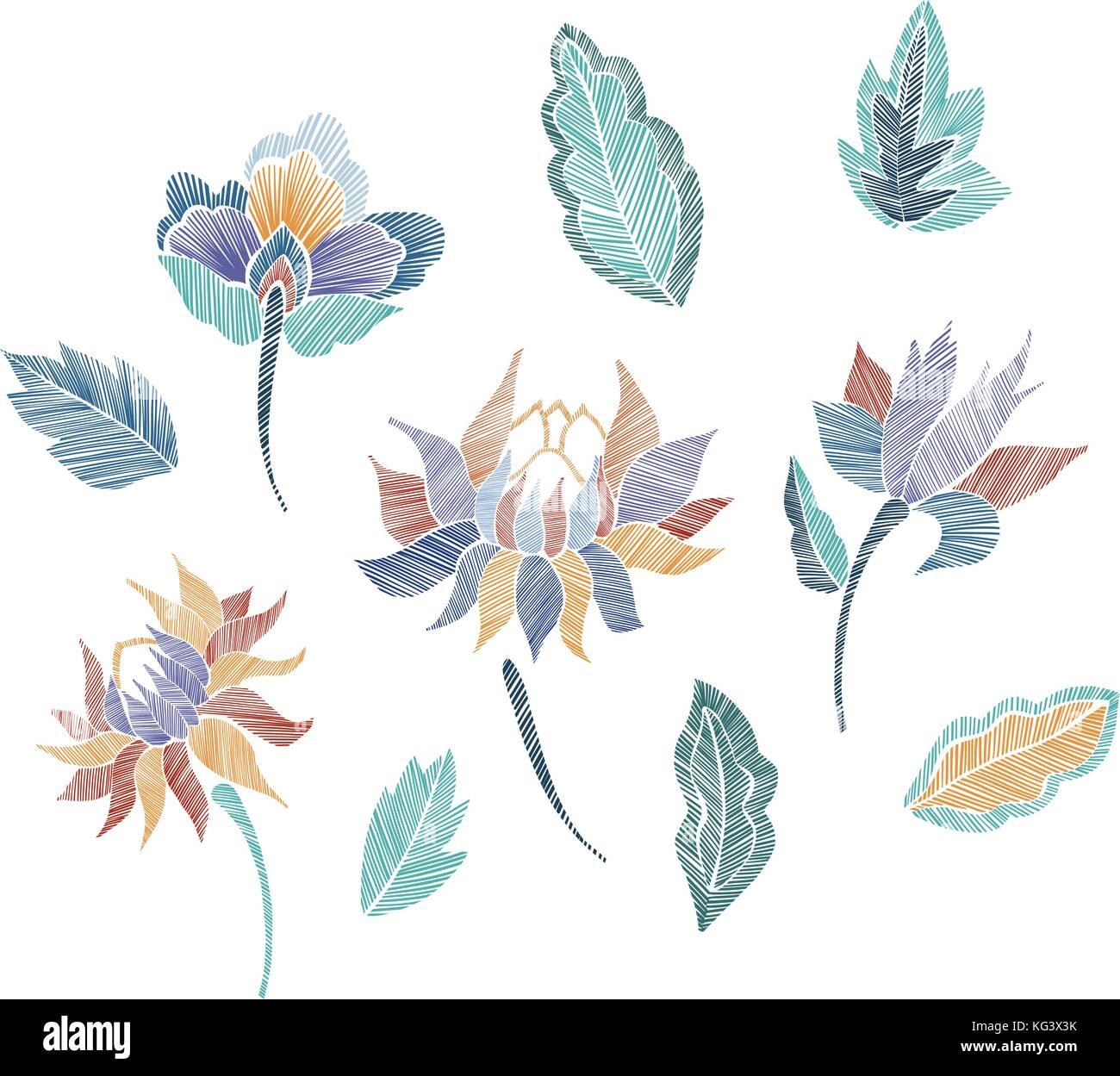 Conjunto de patrón floral con fantasía flores aisladas. line art ...