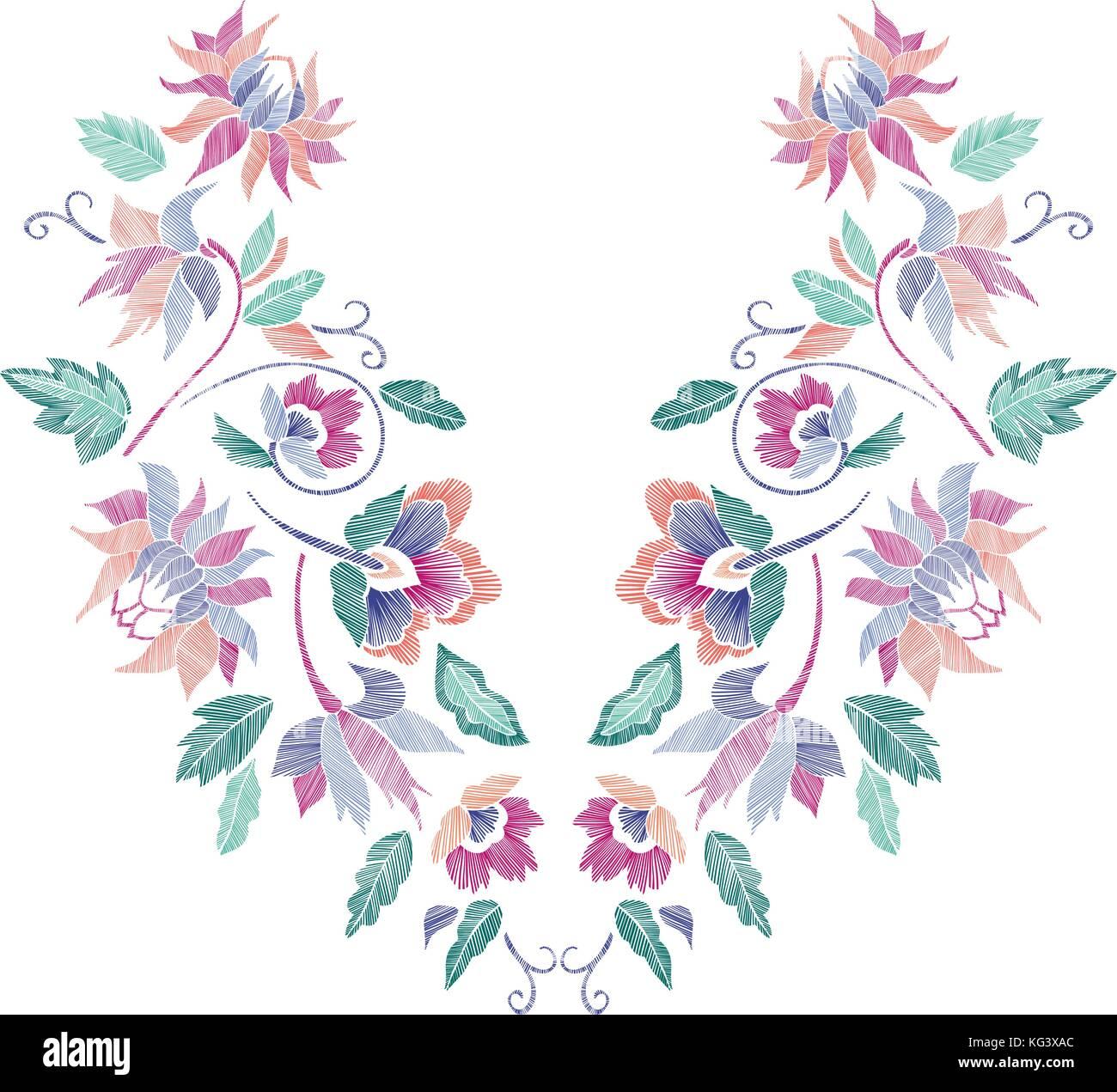 Patrón floral , escote diseños. ilustración vectorial dibujada a ...