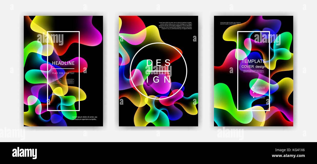 El color del líquido cubre. coloridas formas de burbuja con degradados. Diseño de moda. Imagen De Stock