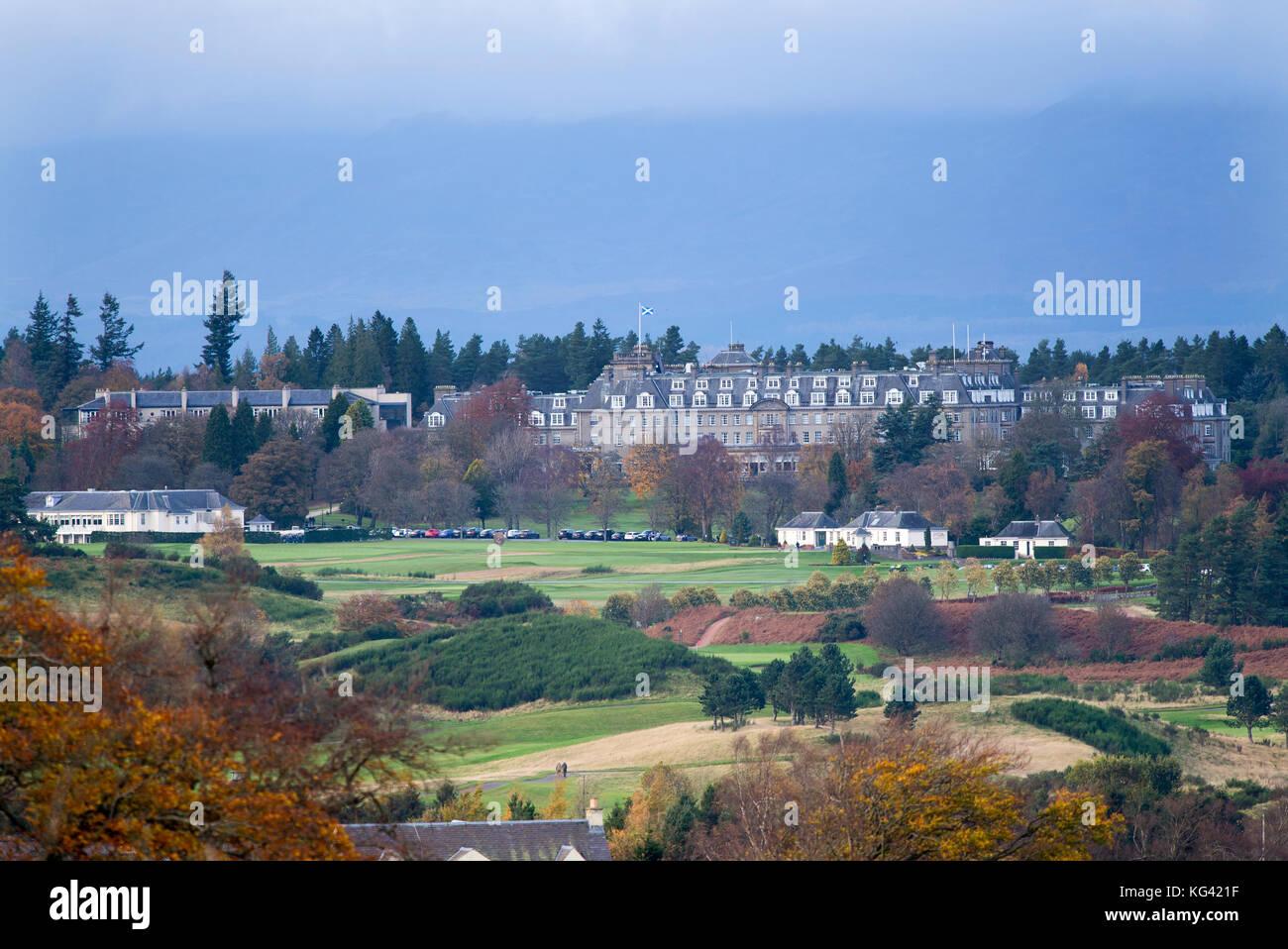 Una vista de Glen Devon del lujo Gleneagles Hotel Auchterarder, Perthshire, Escocia. Foto de stock