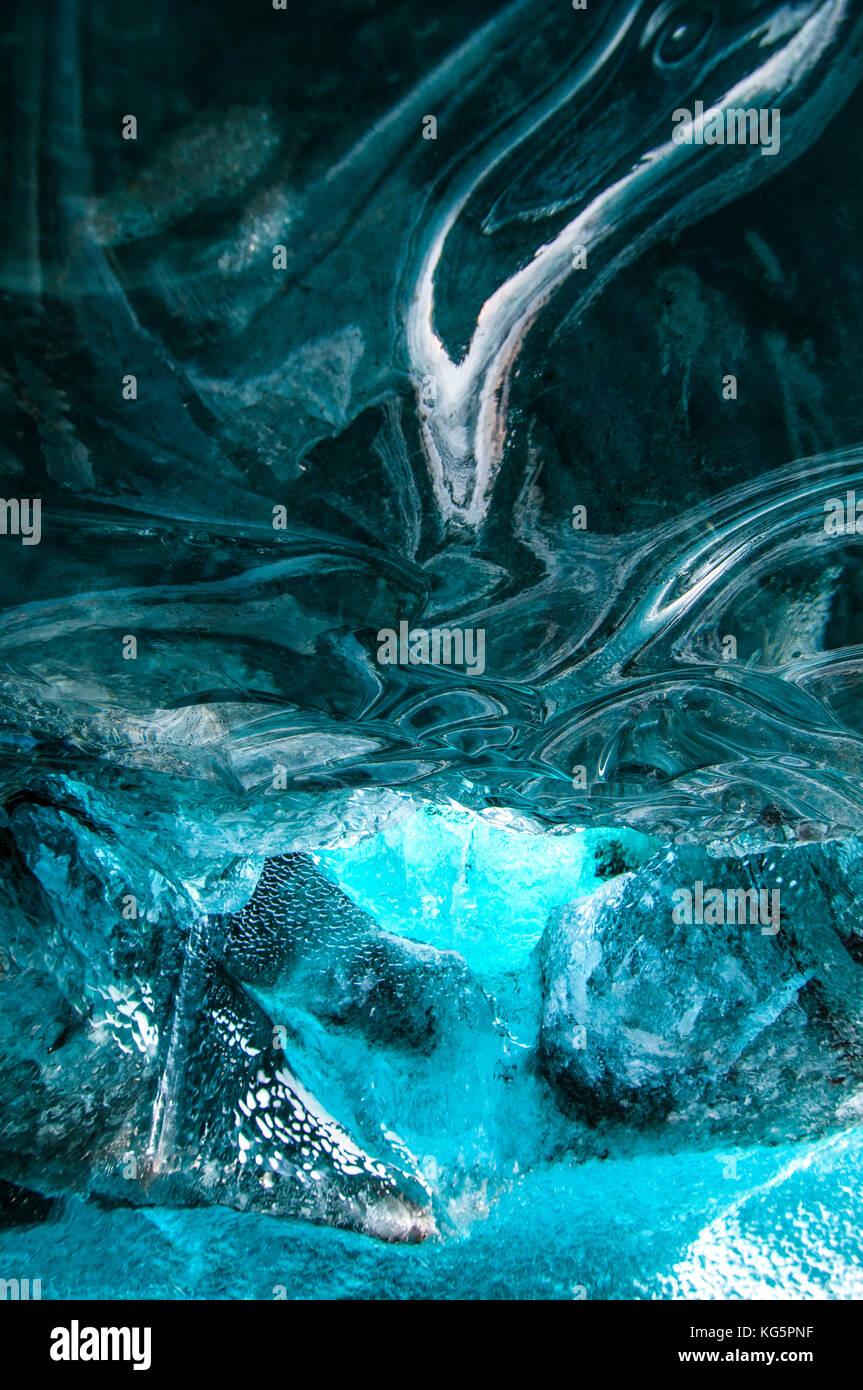 La cueva de hielo, Islandia, el norte de Europa Imagen De Stock