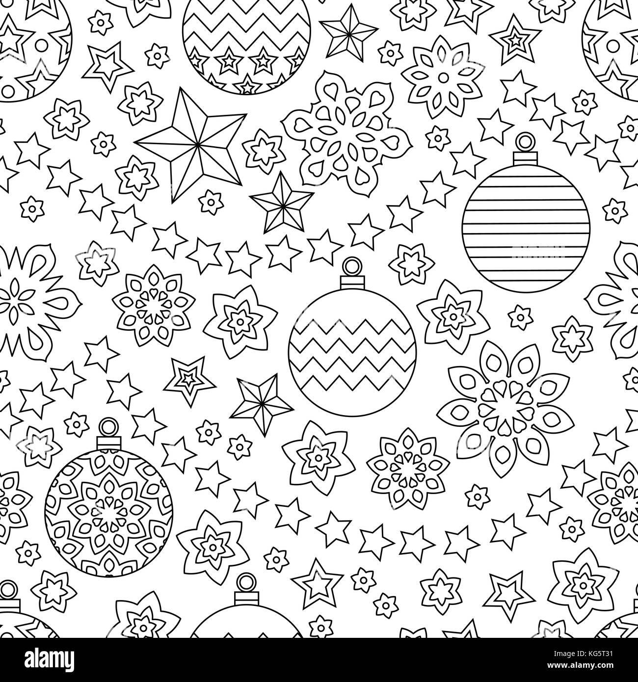 Año nuevo contorno dibujado a mano festivo patrón sin fisuras con ...