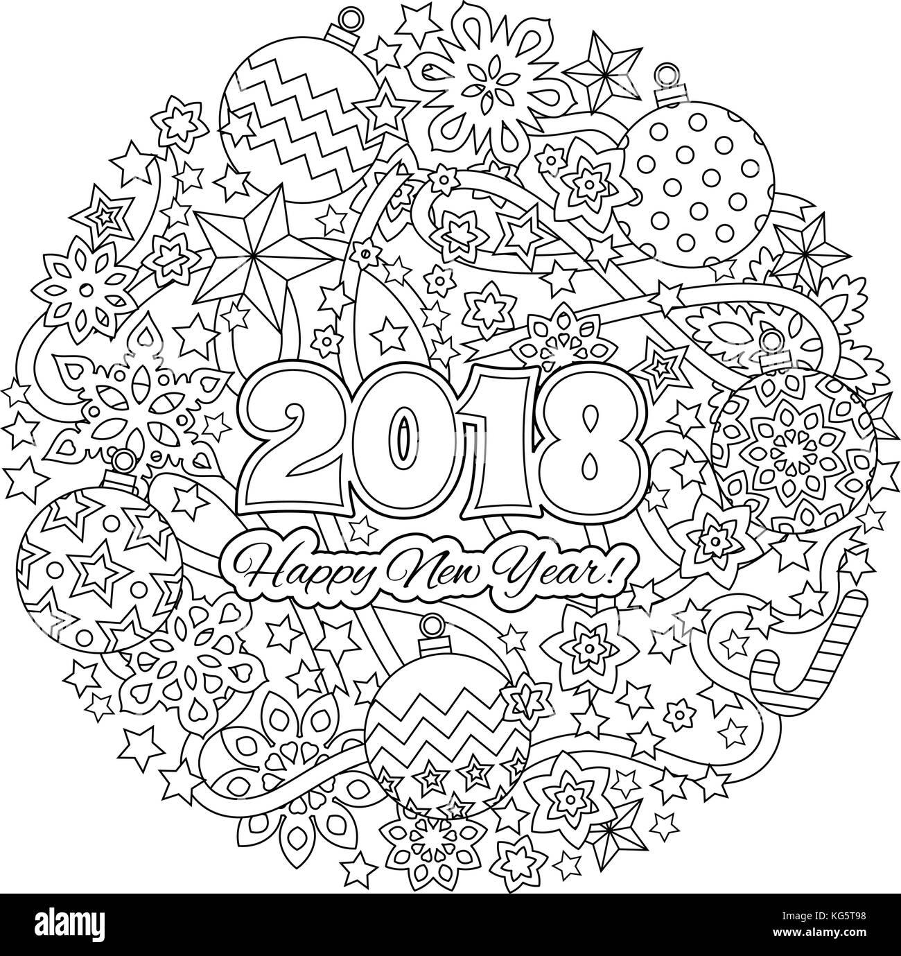 Año Nuevo 2018 Números Mandala Con Fondo De Copos De Nieve En El