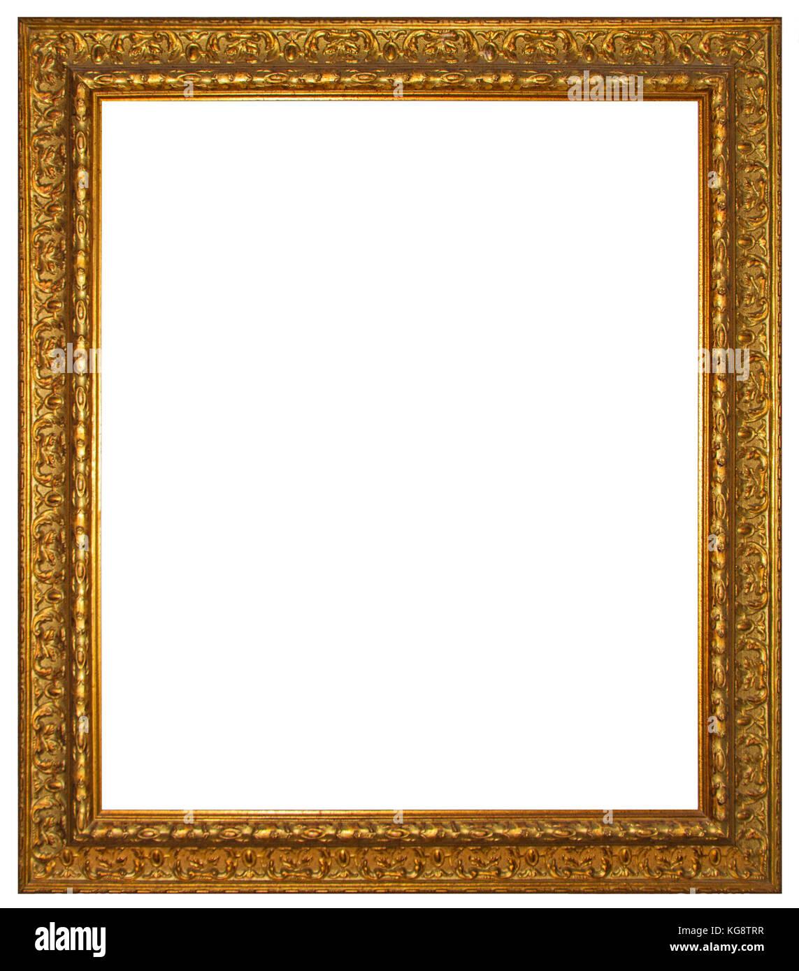 Oro marco de madera para pintar o imagen aislada sobre fondo blanco ...